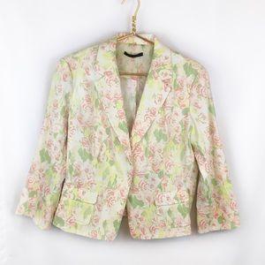 Elie Tahari Pastel Floral 3/4 Sleeve Linen Blazer